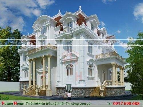 Thiết kế biệt thự 4 tầng mang phong cách cổ điển kiểu pháp