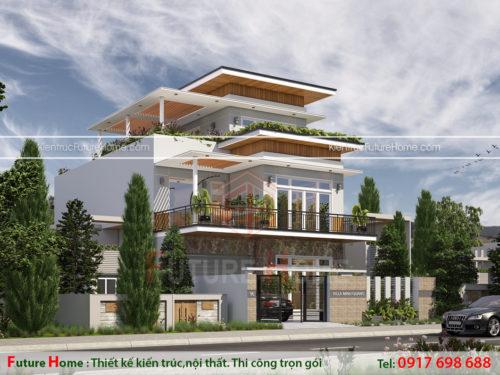 Biệt thự 3 tầng sân vườn mặt tiền 20m