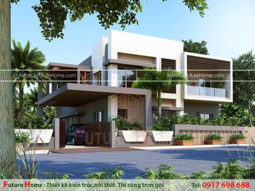 mẫu biệt thự vườn 3 tầng phong cách hiện đại đẹp