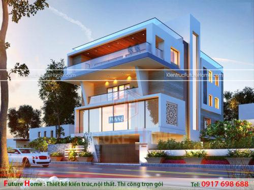 mẫu thiết kế biệt thự hiện đại 4 tầng đẹp