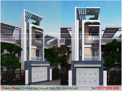 Nhà phố 4 tầng mặt tiền 4m hiện đại