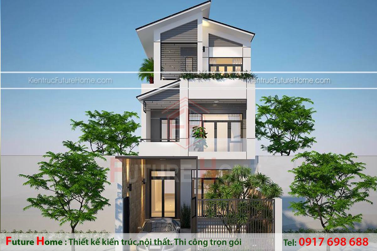 biệt thự phố 3 tầng mái chéo hiện đại
