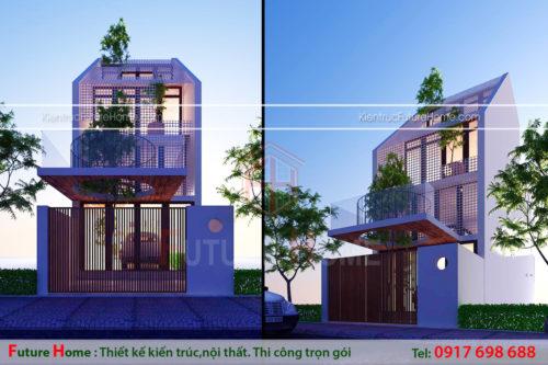 nhà phố 4 tầng thiết kế kiểu bậc thang