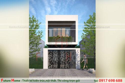 thiết kế nhà ống 2 tầng hiện đại