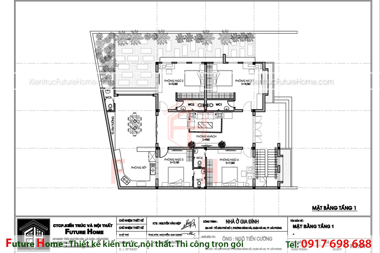 Bản vẽ công năng mặt bằng tầng 1 của biệt thự hiện đại 2 tầng