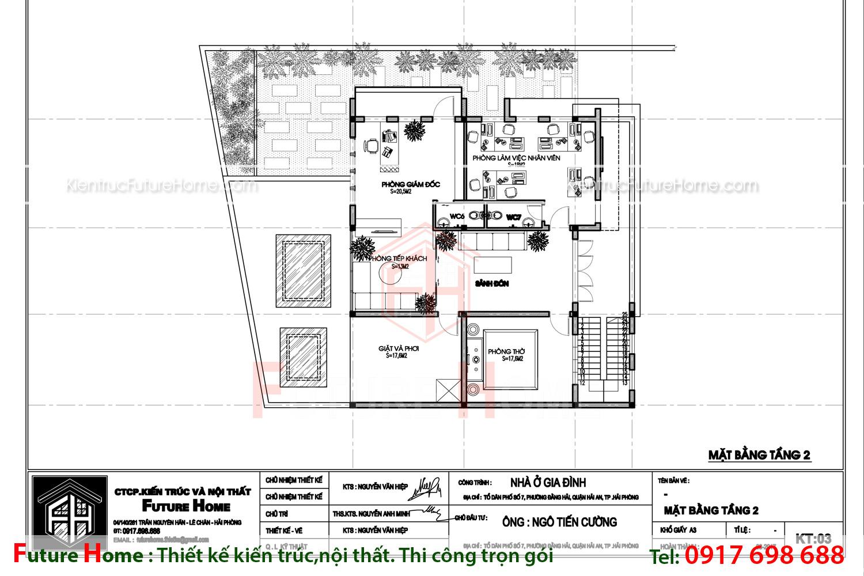 Bản vẽ công năng mặt bằng tầng 2 của biệt thự hiện đại 2 tầng
